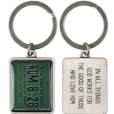 Romans 8:28, License Plate Scripture Keyring