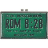Romans 8:28, License Plate Scripture Visor Clip