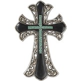 Fancy Wall Cross, Silver, Black, Turquoise
