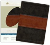 ESV Large Print Bible--soft leather-look, forest/tan