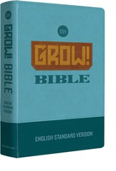 ESV Grow! Bible--soft leather-look, blue
