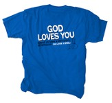 God Loves You Shirt, Blue. Youth Extra Small