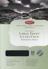 NKJV Ultra Thin Large Print Reference Bible, Genuine leather, Black