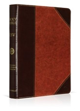 ESV Large-Print Bible--soft leather-look, brown/cordovan