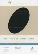 ESV Personal Size Reference Bible, TruTone, Graphite, Stitch Design