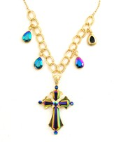 Goldtone Aurora Borealis Fancy Cross Necklace