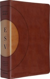ESV Study Bible, Walnut/taupe soft leather-look with core design