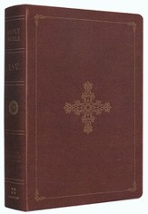 ESV Single Column Heritage Bible--soft leather-look, deep brown with ornate cross