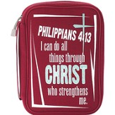 I Can Do All Things Bible Cover, Red, Medium