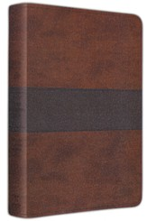 ESV Gospel Transformation Bible--soft leather-look,  brown/navy with trail design
