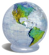 Clear Topographic Globe, Inflatable 36