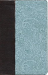ESV UltraThin Bible--soft leather-look, chocolate/blue with garden design