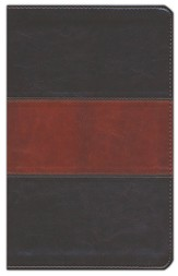 ESV UltraThin Bible--soft leather-look, deep brown/tan with trail design