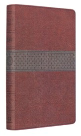 ESV Large-Print Thinline Reference Bible--soft leather-look, walnut/slate with crossband design