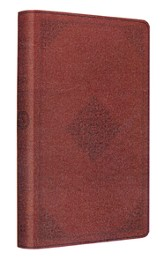 ESV Large-Print Thinline Reference Bible--soft leather-look, tan with ornament design