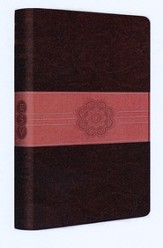 ESV Student Study Bible--soft leather-look, chocolate/coral with sash design  - Imperfectly Imprinted Bibles