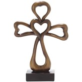 Tabletop Cross with Heart, Brown