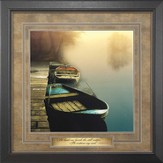 Misty Boats, He Leads Me Beside Still Waters Framed Art