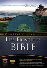 NKJV Charles F. Stanley Life Principles Study Bible, Teal/Charcoal Bonded Leather - Imperfectly Imprinted Bibles