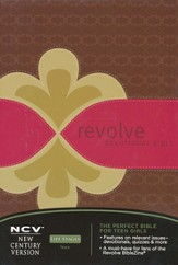 NCV Revolve Devotional Bible: The Complete Bible for Teen Girls - LeatherSoft/Chocolate, Raspberry & Biscuit - Slightly Imperfect