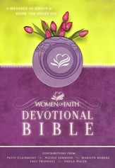 NKJV Women of Faith Devotional Bible: A Message of Grace & Hope for Every Day - LeatherSoft Misty Lavender - Slightly Imperfect