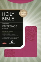 NKJV Nelson Reference Bible--soft leather-look, burnished light cranberry with foliage design