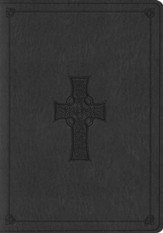 ESV Large Print Bible, TruTone, Charcoal with Celtic Cross Design