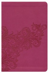 KJV Nelson Reference Bible - LeatherSoft Burnish Light Cranberry, Foliage