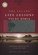 NKJV Lucado Life Lessons Study Bible, soft leather-look burgundy/stormcloud gray Thumb-Indexed