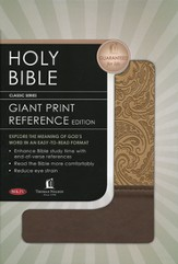 NKJV Personal Size Giant Print Reference Bible, Leathersoft Cham/Deep Taupe Paisley