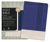 NKJV Personal Size Giant Print Reference Bible, Leathersoft Sapphire Tuscany Kaleid - Imperfectly Imprinted Bibles