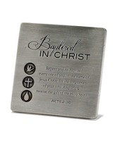 Baptized in Christ Metal Tabletop Plaque