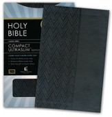 KJV Compact UltraSlim Bible--soft leather-look, charcoal