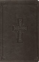 ESV Value Thinline Bible--soft leather-look, charcoal with Celtic cross design - Imperfectly Imprinted Bibles