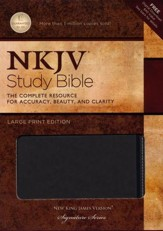 NKJV Study Bible, Large Print, Leathersoft, charcoal