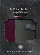 NKJV Compact UltraSlim Bible, Leathersoft, gray/plum