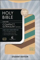 KJV Compact Ultraslim Bible, Flexible Cloth, tan striped