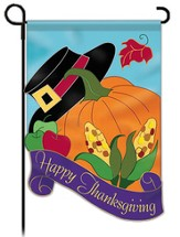 Happy Thanksgiving Shaped Garden Flag, Pumpkin & Pilgrim Hat