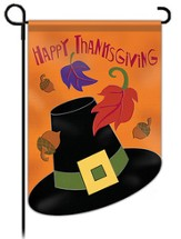Happy Thanksgiving (hat and leaves), Small Applique Flag