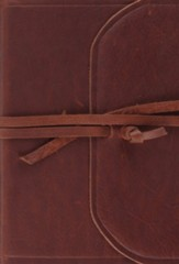 ESV Large Print Compact Bible (Flap with Strap), Natural Leather, Brown