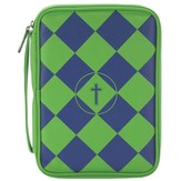 Checkered Bible Cover with Cross, Blue & Green, Large