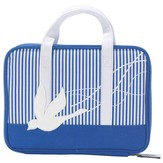 Purse Style Bible Cover, Blue & White Striped with Dove, Large