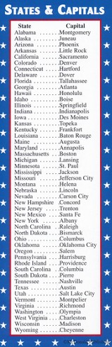 States & Capitals/Presidents Smart Bookmarks (Set of 36; One Design)
