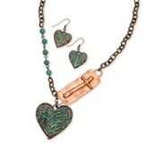 Wing And Heart Necklace Set, Turquoise