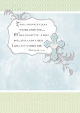 Baptism Cards, I Will Sprinkle Clean Water Upon You, Pack of 6