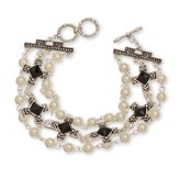 Cross With Pearl And Stone Bracelet, Black