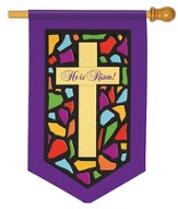 Stained Glass Cross Applique Flag, Large