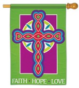 Faith Hope Love Cross Flag, Large