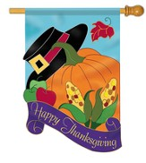 Happy Thanksgiving (hat and pumpkin), Large Applique Flag