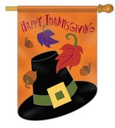 Happy Thanksgiving (hat and leaves), Large Applique Flag